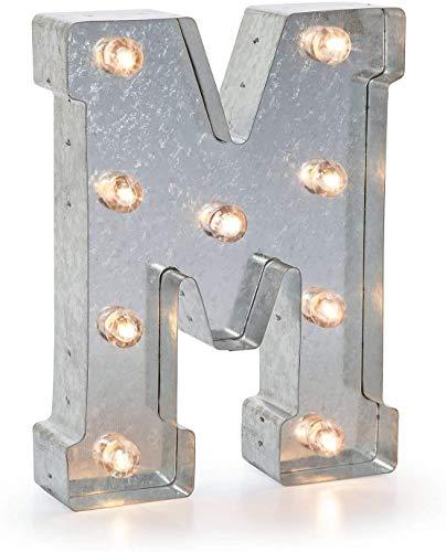 Darice LED metalen letter M, metaal, zilver, 25,5 x 19 x 5 cm