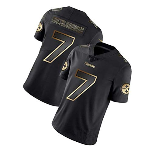 Roethlisberger 7# Steelers, Herren Trainings Trikot Kurzarm Top Herren Casual Sports T-Shirt Rugby Trikot (S-3XL)-Black-M