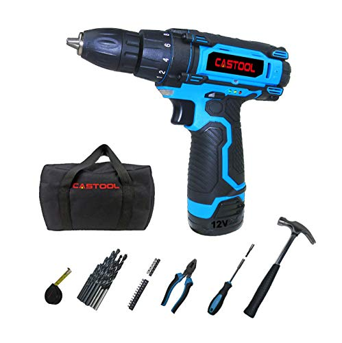 12V Cordless Compact Drill with 1.3Ah Lithium-ion Battery 10mm(3/8'') Chuck (18+1) Torque Setting with LED and 32 PCS Accessory Kit