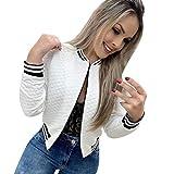 Goddessvan 2019 Women's Casual Long Sleeve Baseball Shirt Zip Jacket Diagonal Zipper Baseball Jacket White