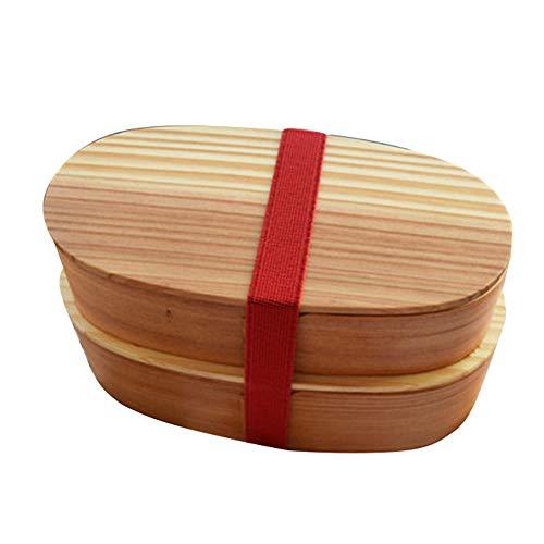 Boîte à Lunch en Bois Naturel à Double Couche Conteneurs Alimentaires Empilables Traditionnels Japonais Boîte à Bento Portable pour Pique-Nique Sushi