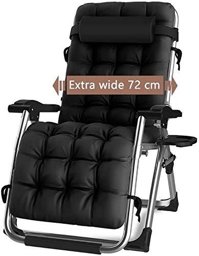 TUHFG - Sedia reclinabile da giardino, sedia a sdraio da giardino, reclinabile, con supporto per poltrona da spiaggia da 200 kg (colore: nero)