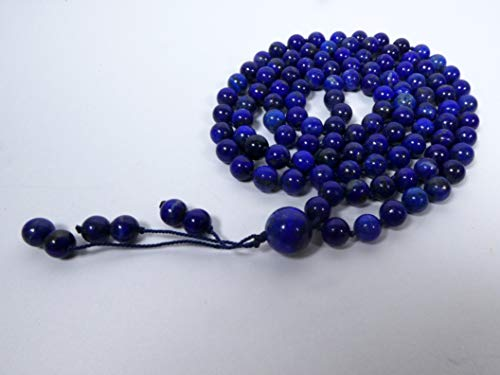 Lapis Lazuli AAA** (Highest Quality) Knotted Mala (108 + Guru), Necklace, Bracelet with 6.5-mm Beads and a Beaded Tassel 2354