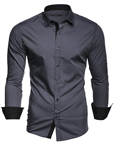 Kayhan Hombre Camisa Manga Larga Slim Fit S-6XL - Modello Twoface + London