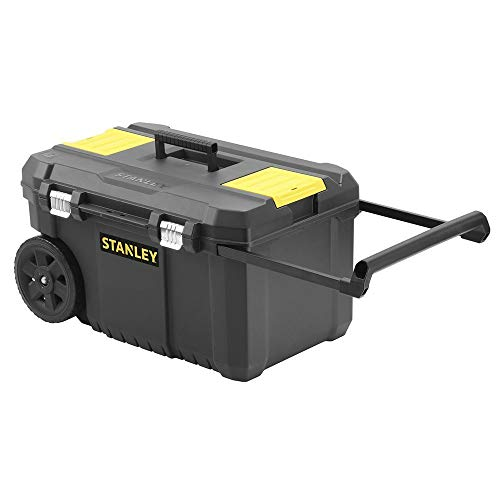 STANLEY Rolling Toolbox Chest with Heavy Duty Metal Latch, 2 Lid Organisers for Small Parts, Portable Tote Tray for Tools, STST1-80150
