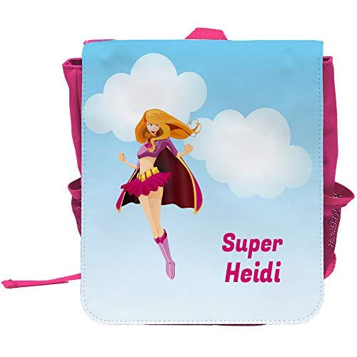Kinder-Rucksack mit Namen Heidi und schönem Superheldinnen-Motiv und Text - Super Heidi - für Mädchen