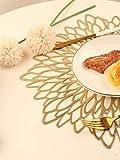 Famibay Weihnachten Platzsets Rund 6er Set Waschbar Tischsets Gold Kunststoff Platzdeckchen für Küche Tisch - 6
