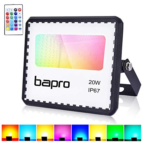 RGB 20W LED Strahler mit Fernbedienung,IP67 Wasserdicht LED Außenstrahler LED Flutlicht 16 Farben 4 Modi LED Fluter Stimmungslichter ,halloween,Party Deko,Weihnachten