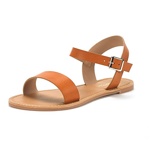 DREAM PAIRS Women's Hoboo-New Cute Open Toes One Band Ankle Strap Flexible Summer Flat Sandals Tan Size 5.5