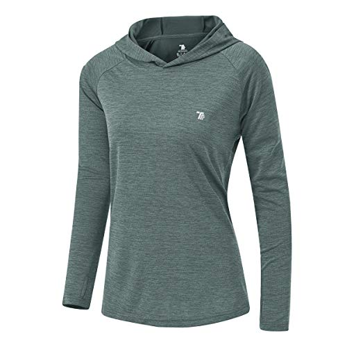 donhobo Damen Laufshirt Langarm Funktionsshirt Workout Oberteil Gym Sport Running Shirt Top (Cyan, M)