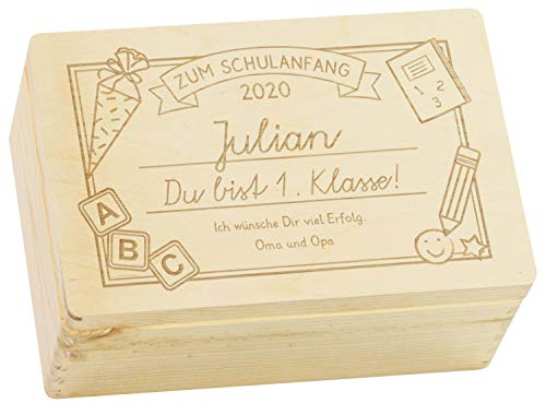 LAUBLUST Holzkiste mit Gravur - Personalisiert mit Datum | Name | WIDMUNG - Natur Größe M - 1. Klasse Motiv - Geschenkkiste zur Einschulung