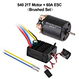 Hootracker 540 21T 4 Poles Brushed Motor and 60A Brushed ESC Combo with 6V/3A BEC Waterproof 540 Motor ESC Combo for 1/10 RC Racing Car