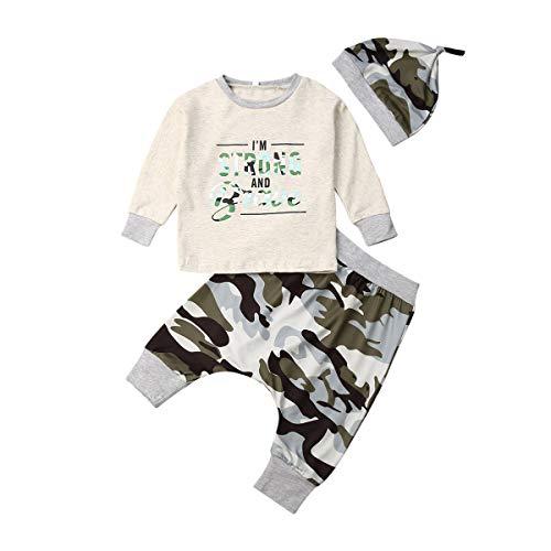 Pasgeboren Baby Jongens Camo Kleding Lange Mouw Letter T-Shirt Tops Camouflage Harem Broek Hoed Herfst Winter Outfits Set