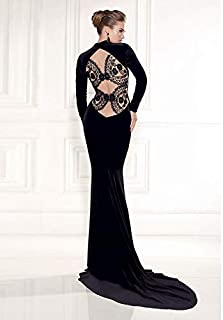 Elegant Backless And Long Sleeve Evening Dress For Ladies L Size Oyl-1