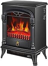 Chimenea empotrada Negra Calefacción Inteligente Chimenea Decorativa para el hogar - Estufa eléctrica portátil con Efecto de leña - Chimenea Interior 2000W