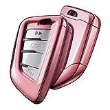 OATSBASF Funda para llave de coche compatible con BMW, caja de llaves para BMW X1 X2 X3 X4 X5 X6 1 2 5 7 Series accesorios carcasa de TPU (oro rosa)