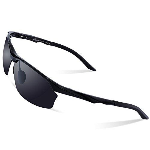 DUCO Polarisierte Sonnenbrille Herren für Radfahren Angeln Golf Unzerbrechlich 8513S (Schwarz Rahmen Grau Linse)