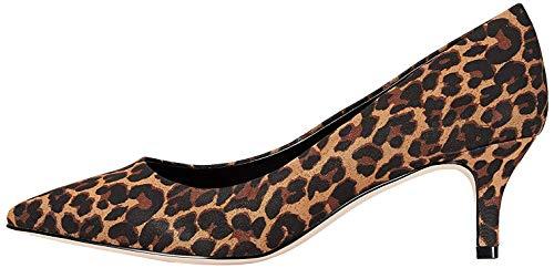 FIND Kitten Heel Court Zapatos de Tacón, Beige (Leopard), 38 EU