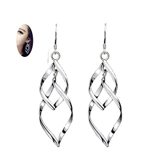 Fheaven Woman S925 Plated Silver Earrings Solid Sterling Silver Polished Good Luck Irish Celtic Knot Vintage Leaf Dangles Eardrop Earring (A)