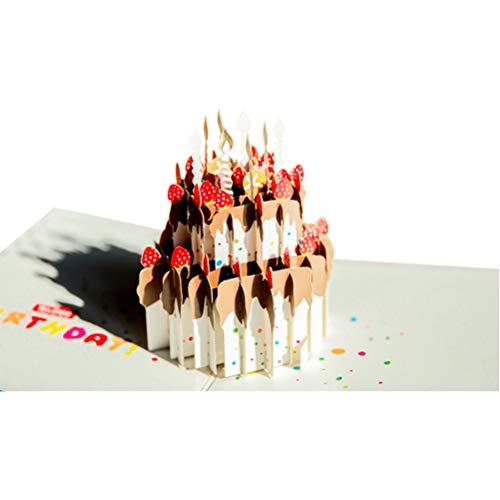 3D Pop-Up Wenskaart, Handgemaakte Verjaardagskaart Verjaardag Valentijn Kerst Bruiloft Cadeau Kaart met Bijpassende Envelop Voor Dames Heren Kinderen (Verjaardagstaart met Kaars)