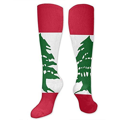 Calcetines con estampado de bandera libanesa Calcetines sobre calcetines Calcetines deportivos frescos y cálidos 50CM