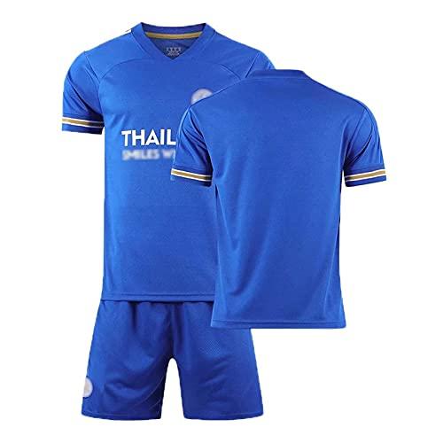HKIASQ Camiseta De Fútbol para Niños Adultos, Camiseta 9 Vardy 26 Mahrez, Pantalones Cortos De Camiseta De Fútbol De Local De Leicester 2021, Chándales De Entrenamiento De Fútbol,Azul,M/Medium