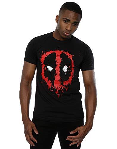 Marvel Deadpool símbolo Rojo los Hombres del Logotipo Negro Camiseta