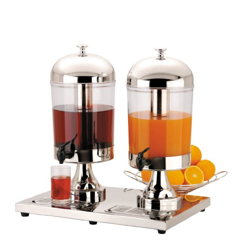 Double 2 x 8 Litre Chilled Juice or Milk Dispenser, ideal for Breakfast Buffet Bars, Buffets and Cocktail Bars. by Sunnex