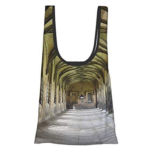 Collection Gehweg aus Stein mit gotischen Bögen, in die Entfernung zurückkehren, gewölbte Fenster, Portale, anthrazit, wiederverwendbare Einkaufstasche, umweltfreundliche Einkaufstasche