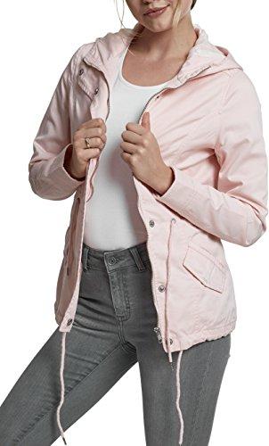 Urban Classics TB1820 Damen und Mädchen Basic Cotton Parka, Jacke aus Baumwolle für Herbst und Winter mit Kapuze, Taille verstellbar, Tunnelzug-Saum - rose, Größe S
