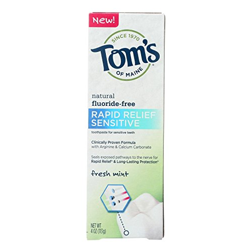 Tom's Of Maine Rapid Relief Sensitive Toothpaste - Fresh Mint Fluoride-free - Case Of 6-4 Oz.