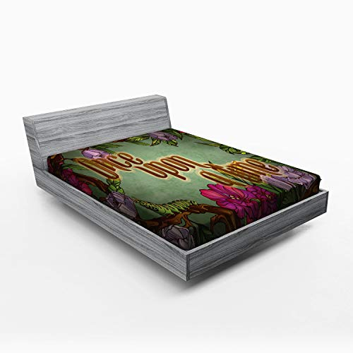 ABAKUHAUS Er was eens Hoeslaken, Caterpillar Flower, Zachte Decoratieve Stof Beddengoed, Elastische Band Rondom, 135x 190 cm, Veelkleurig