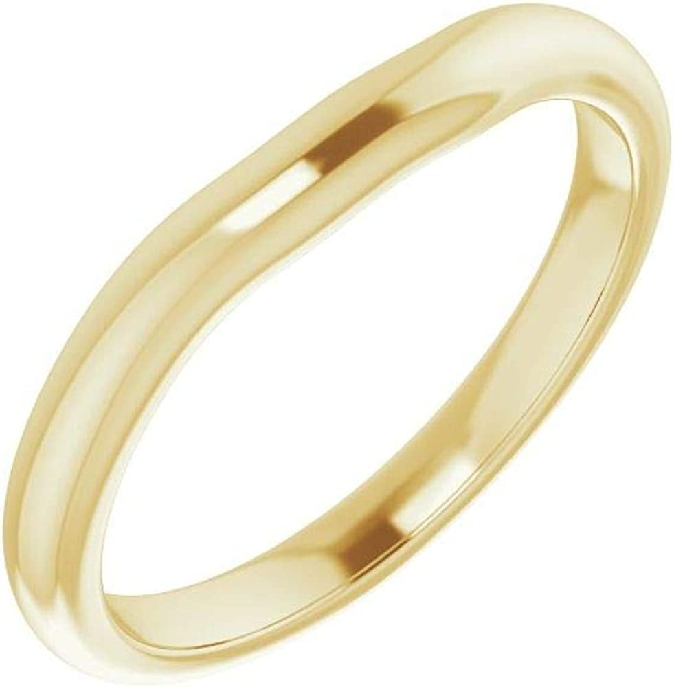 Solid 18K Yellow Gold Curved Notched Wedding Band for 4x4mm Square Ring Guard Enhancer - Size 7