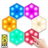 Bizcasa 6 Piezas Luces para Gabinetes LED,Luz de Vitrina Luz de Armario LED Luz de Gabinete Lámpara Nocturna Lámpara de Pared Creativa Hexagonal Control Táctil y Remoto Iluminación