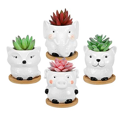 Lewondr 4 Pezzi Vasi da Fiori in Ceramica, Mini Vaso per Piante Forma di Animali, Vasi di Fiori per Piante Succulente Cactus Decorazione da Scrivania Tavolo Finestra, 3,6 Pollici, Bianco