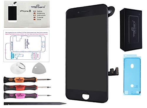 Trop Saint® Vetro Schermo per iPhone 8 Nero e iPhone SE (2020) Ricambio Completo LCD Display - con Instruzioni, Attrezzi e Adesivo Impermeabile