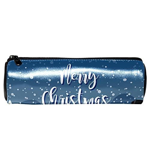 EZIOLY Estuche de lápices de cuero para hombre de nieve al aire libre de Navidad, monedero, bolsa de maquillaje para estudiantes, papelería, escuela, trabajo, oficina, almacenamiento