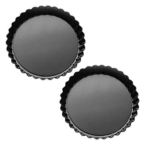 Lawei 2 Stück Quicheform Tarteform Antihaftbeschichtung Rund Kuchenrom Quiche Tart Form mit Abnehmbar Basis Boden zum Backen, 22,9 cm