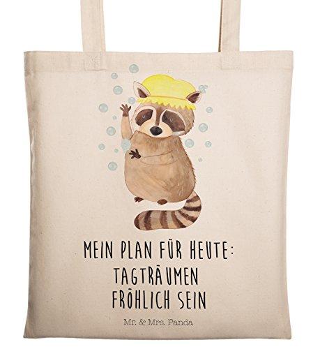 Mr. & Mrs. Panda Tasche, Stofftasche, Tragetasche Waschbär mit Spruch - Farbe Transparent