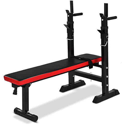 Goplus Adjustable Weight Bench –Weight Lifting Bench – Multi-function for Fitness Exercise and Strength Workout - Fully Adjustable Weight Catches Bench Press - Foldable Incline Exercise Bench