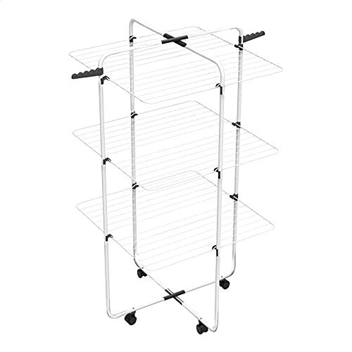 EUROXANTY Tendedero Vertical de 3 Alturas | Estructura de Hierro Resistente | 3 Rejillas de Superficie | 61 x 71 x 135 Centímetros |