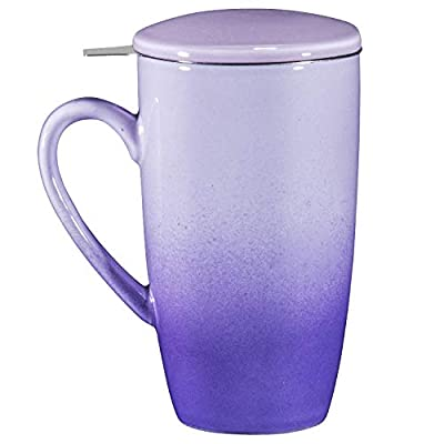 Bruntmor Ceramic Tea Infuser Mug With Stainless Steel Infuser And Removable Lid, Microwave Oven And Dishwasher Safe, Great For Use With Loose Tea Leaves And Sachets (16 oz, Gradient Purple)