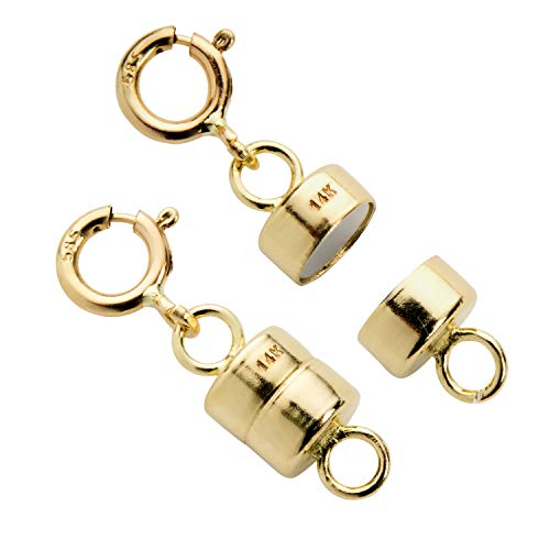 Everyday Elegance 14K Yellow Gold Round Magnetic Clasp Converter for Necklace or Bracelet with Spring Ring, 2 Clasps