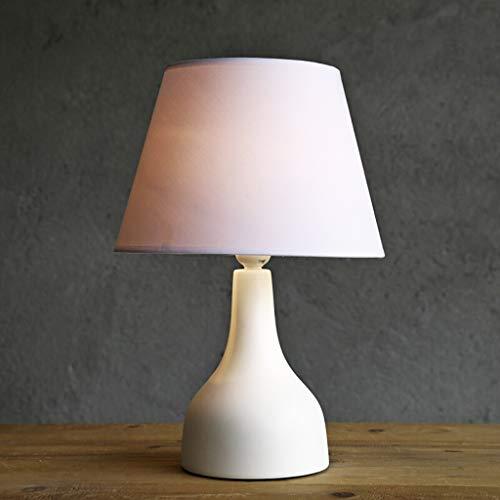 zlw-shop Lámpara de Mesa Cerámica Moderna Pequeño Blanco Sala Dormitorio Mesita de luz de la lámpara, lámpara de Escritorio con Blanco Tela de la Cortina Lámpara Mesilla de Noche