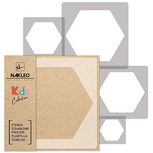 5 Stück wiederverwendbare Kunststoff-Schablonen // WABE - BIENWABE - SECHSECK - HONIG // 34x34cm bis 9x9cm // Kinderzimmer-Dekorarion // Kinderzimmer-Vorlage
