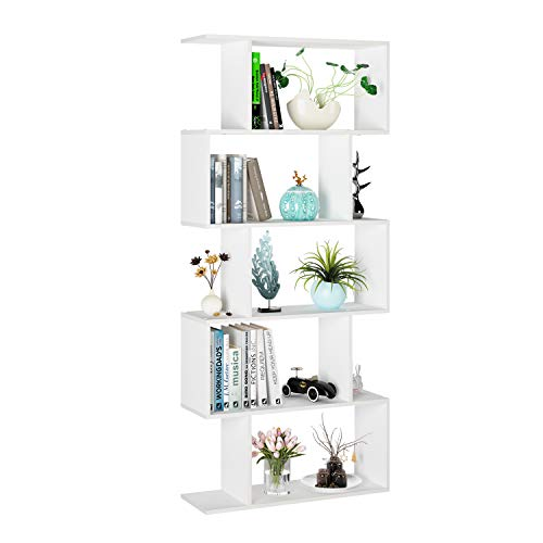 Librería Estantería Estantería para Libros Librería de Pared con 5 Estantes Separador de Ambientes para Salón Oficina Estudio Blanco 70x23.5x159.5cm