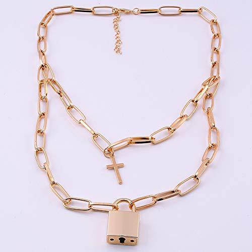 Yipianyun Halskette Double Layer Lock Chain Punk Der 90Er Jahre Gliederkette Silber Farbe Vorhängeschloss Anhänger Frauen Mode Gothic Schmuck-In Chokeraus Schmuck,2