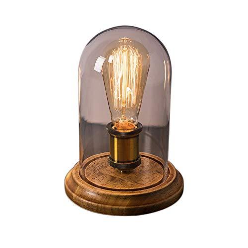 Edison retro lámpara de mesa pantalla de vidrio lámpara de mesa mesilla de noche lámpara de mesa decorativa