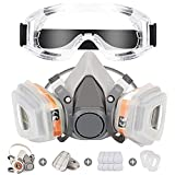 Reusable Face Cover Set for Painting,Gas, Dust, Machine Polishing, Organic Vapors with Filter Cotton, Glasses and Gloves for Staining,Car Spraying,Sanding &Cutting, DIY and Other Work Protection