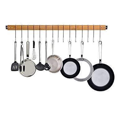 JackCubeDesign Bamboo Wall Mount Gourmet Kitchen Pot Rack Hanging Bar Utensil Pan Hanger Storage Organizer with 15 Hooks – MK420A